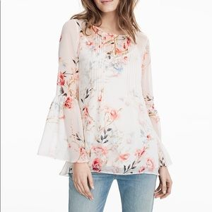 WHBM Mimosa Floral Romantic Bell Sleeve Blouse